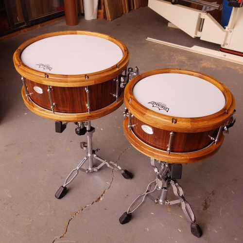 Pair of Walnut Snare Drums with Segmented Wine Stave Hoops