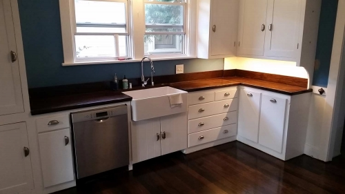 Cabinet Restoration and Sink Remodel With Custom Wood Counter Tops