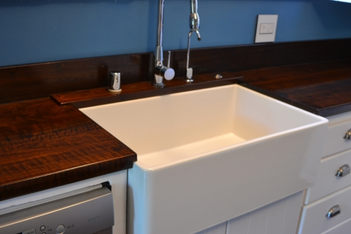 Farm Style Sink Install With Custom Walnut Counter Tops