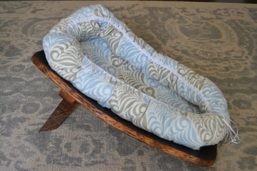Wine Barrel Baby Cradle with Quilted Baby Nest