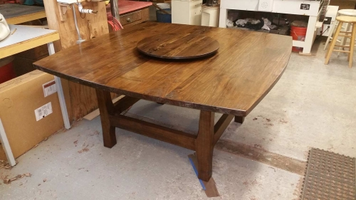 Walnut Dining Table with Lazy Suzan