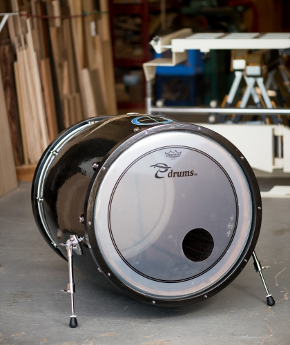 Wine Barrel Bass Drum With Gloss Black Finish and Pinstripes