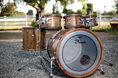 Reclaimed Wine Barrel Drum Set Walnut Stain
