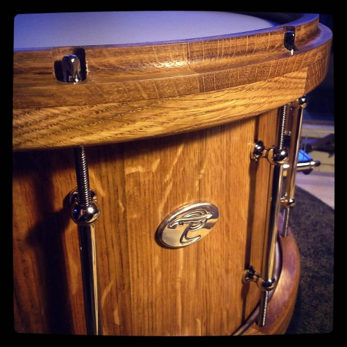 Wine Barrel Snare Drum with Matching Wood Hoops