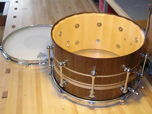 Interior of Walnut and Maple Snare